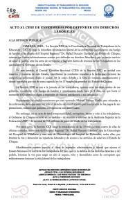 Boletín - ALTO AL CESE DE ENFERMERAS POR DEFENDER SUS DERECHOS LABORALES -  10 abril 2017