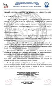 Boletín - SECCIÓN XXII EXIGE ALTO A LAS AGRESIONES EN CONTRA DEL COVIC - 12 mayo 2017
