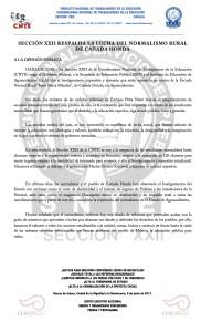 Boletín - SECCION XXII RESPALDA LA LUCHA DEL NORMALISTA RURAL DE CAÑADA HONDA - 08 junio 2017
