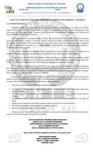 Boletín- ALTO A LA PROTECCIÓN DEL GOBIERNO A GRUPOS DE CHOQUE Y CHARROS - 20 agosto 2017