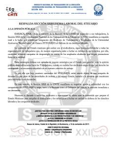 Boletín - RESPALDA SECCIÓN XXII LUCHA LABORAL DEL STEUABJO- 16 noviembre 2017