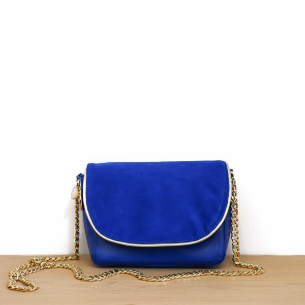 Cénélia | Petit sac en cuir bleu Zoé