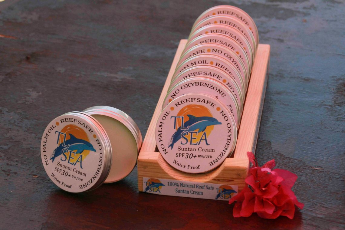 An example of reef-safe sunscreen, based on illipe butter, which we sell at the resort.