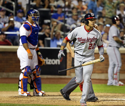 Nats' Soto leaves game, day to day after spraining ankle | WNTZ