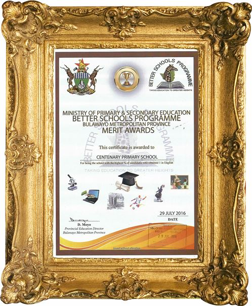 Bulawayo metropolitan province award to Centenary Primary School for having the highest percentage of students who attained grade 1 in English.