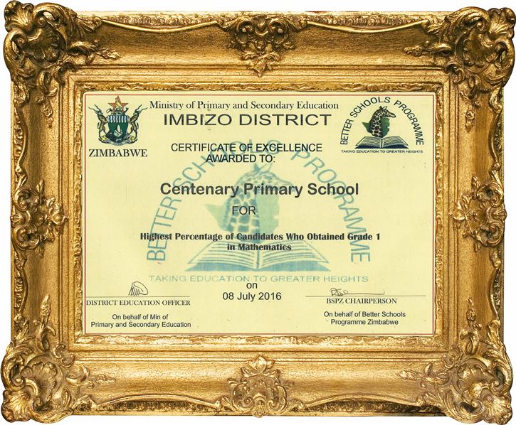 highest percentage of centenary primary school students who attained grade 1 in mathematics