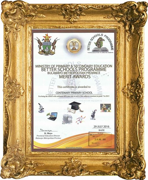 centenary primary school award for being the school with minimum 80% pass rate in 2015