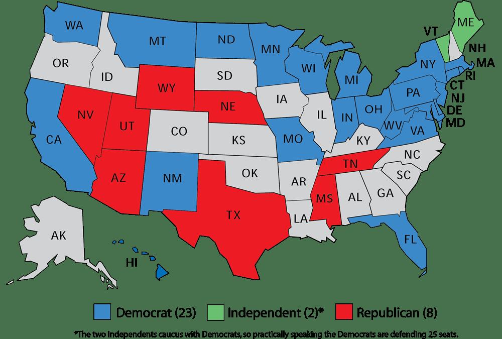 Image result for 2018 US Senate map images