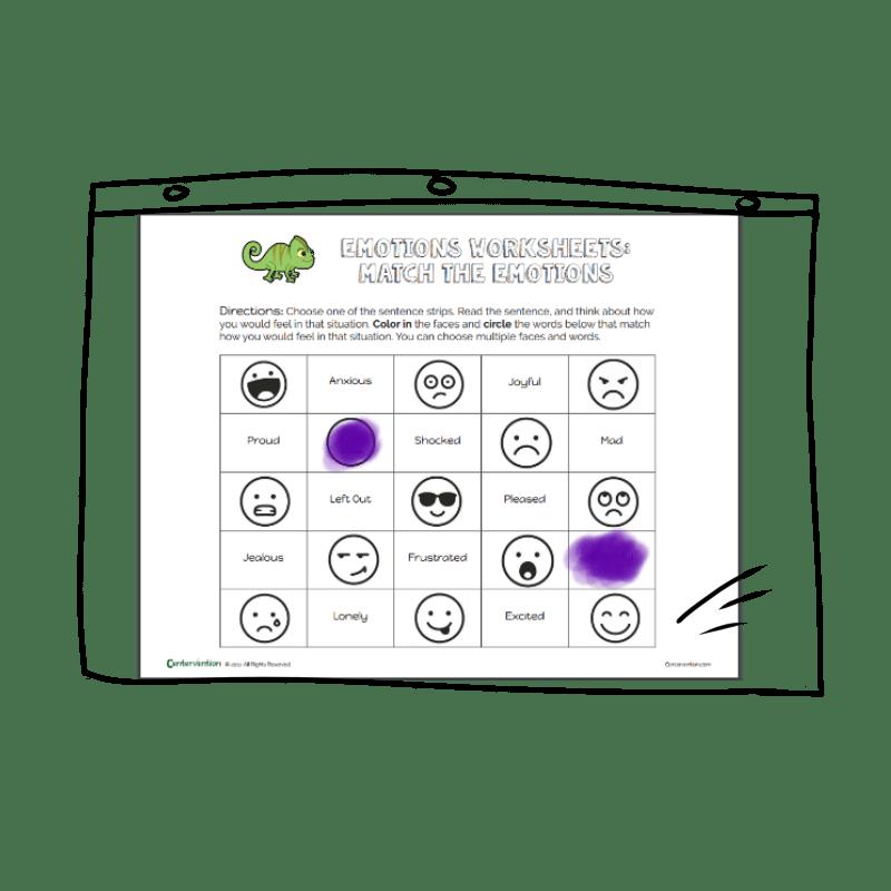 Emotions Worksheet Match The Emojis