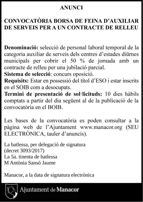 Un Concurs-oposició A L'Ajuntament De Manacor