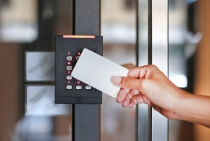 Card access control alarm system for business.