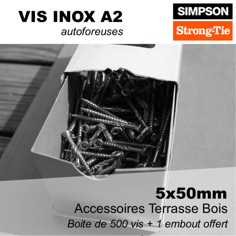 vis 5x50mm inox a2 autoforeuse tete torx pour terrasse boite de 500 vis