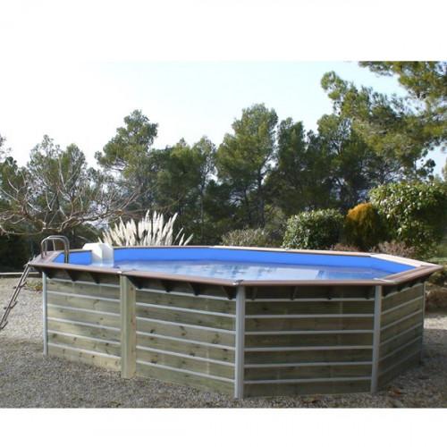 water clip piscine bois octogonale 5 90 x 4 20 x h 1 11 m lucon