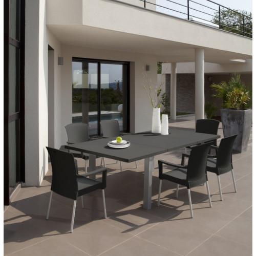 grosfillex salon de jardin pvc table et 6 fauteuils ineo anthra