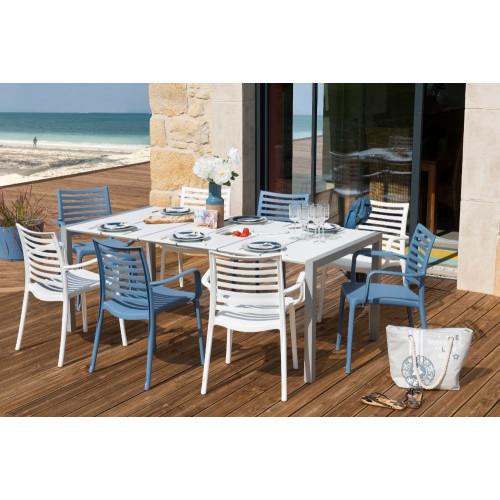 grosfillex salon de jardin sunday table blanc glacier denim