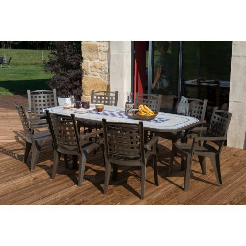 grosfillex salon de jardin verona 220 x 100 bronze 8 fauteuils