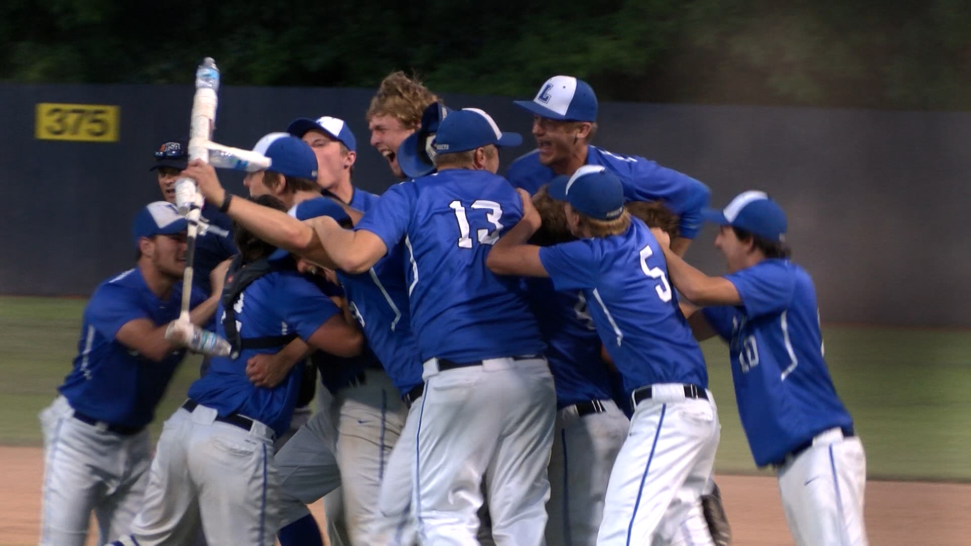 Limestone Baseball super-sectional dogpile