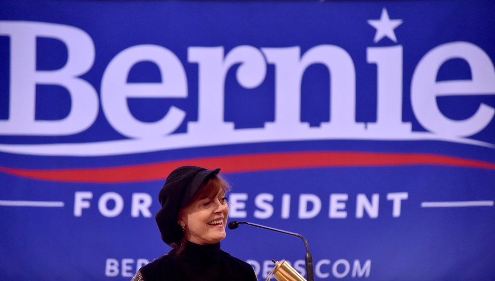Susan Sarandon campaigned for Democratic presidential candidate Bernie Sanders at Colby College in Waterville on Wednesday.