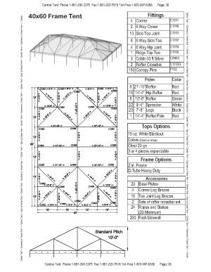 40x60 Complete Frame Tent  Central Tent