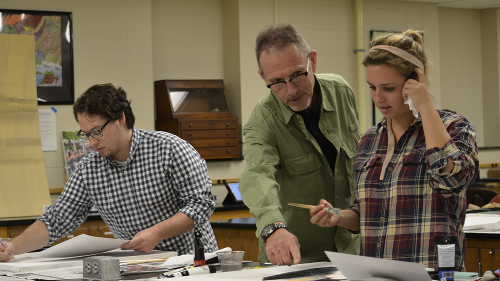 H.W. Stodghill, Jr. and Adele H. Stodghill Professor of French and German Ken Keffer's French class works on art project.