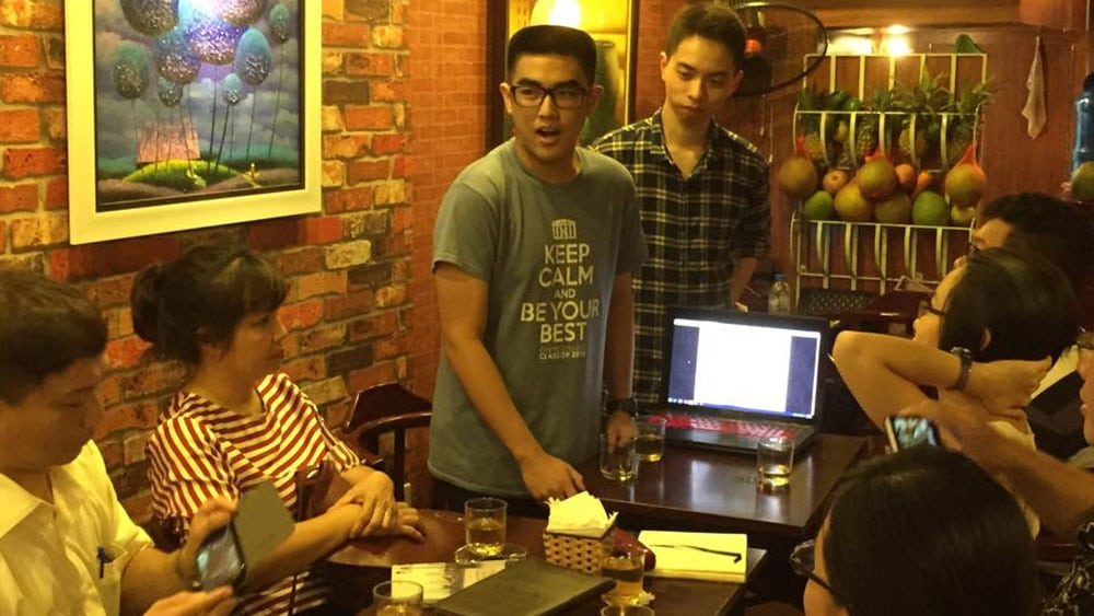 Centre @ Home meets with international first-year students in Hanoi.