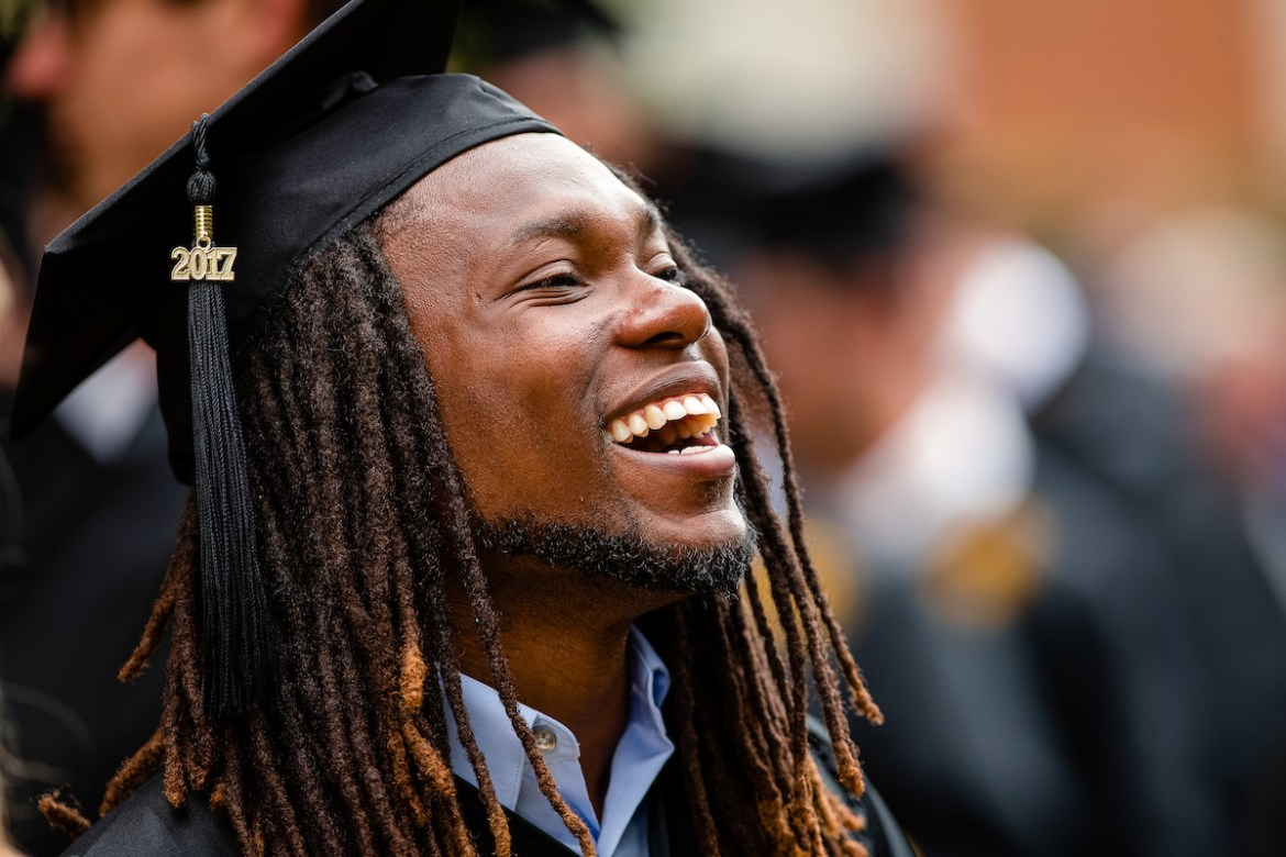 male African American student lines up for commencement
