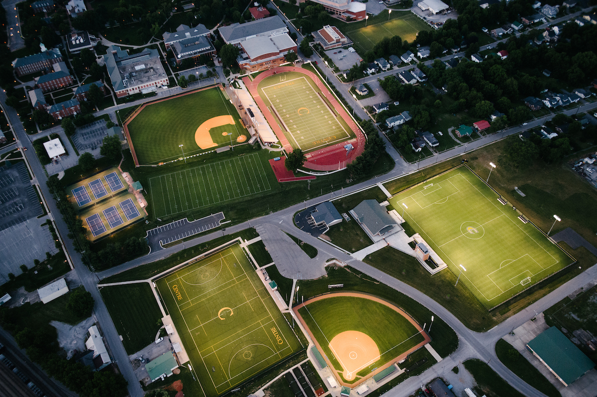 aerial view of all the athletics fields