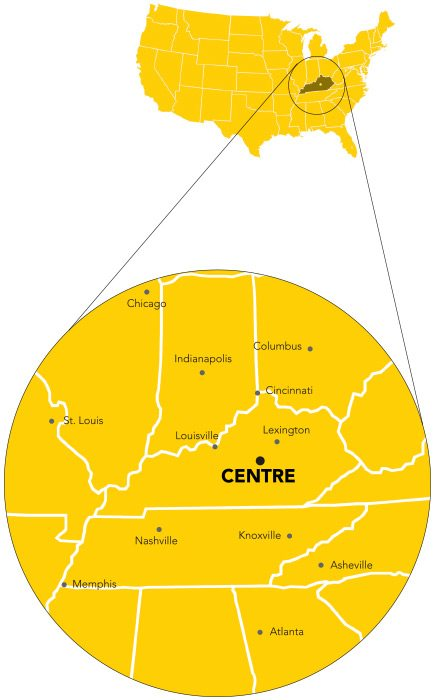 map showing the distance from Centre to surrounding major cities