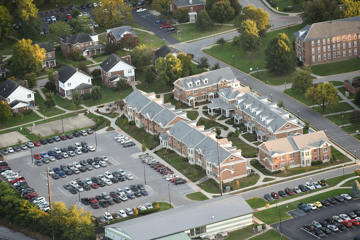 aerial view of Brockman Commons and parking lot