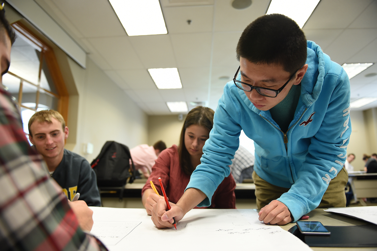 Students work on a group project