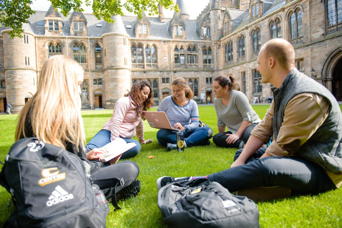 Centre students enjoy a day outside while studying abroad at the University of Glasgow