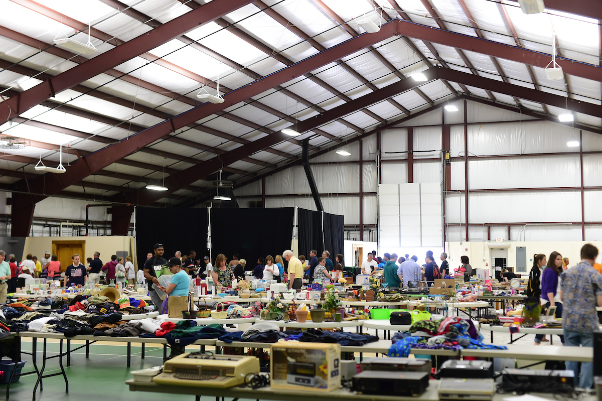 Shoppers peruse merchandise at the Hope Springs Yard Sale