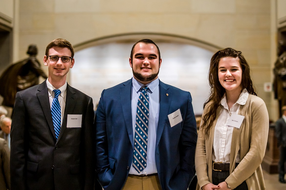 Students pose for a photo at the Legislative Branch Review Conference
