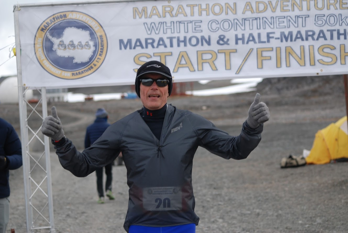 David Anderson at the finish of the White Continent Marathon in Antarctica