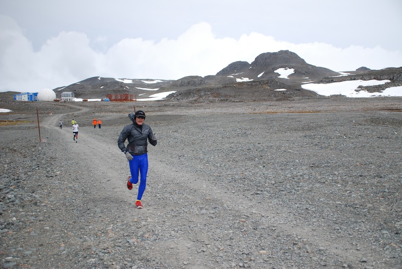 David Anderson mid race at the White Continent Marathon in Antarctica