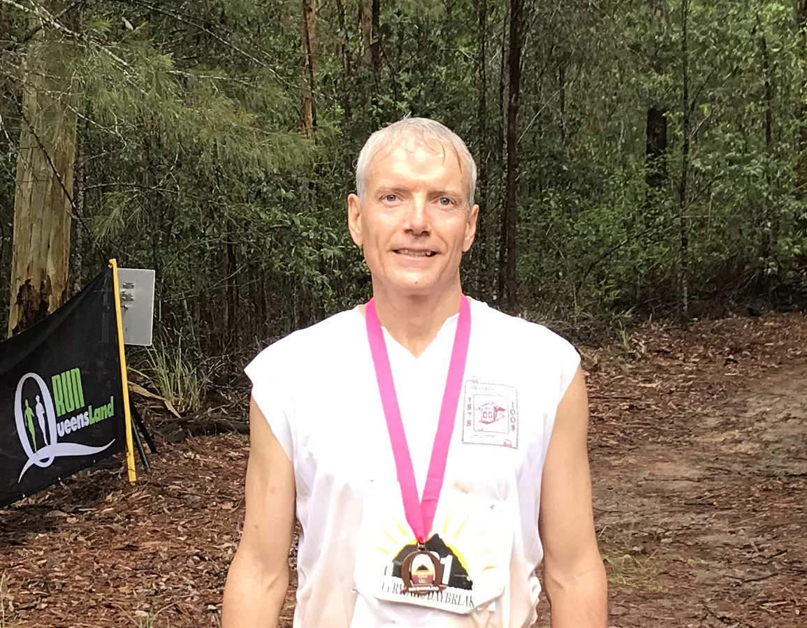 David Anderson at the finish of the Beerwah Marathon