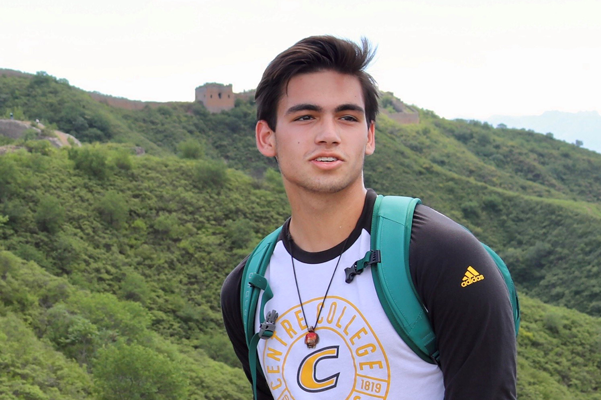 Photo of Race Pellant '21 during his visit to the Great Wall of China during his summer internship experience at U.S. Embassy in Beijing