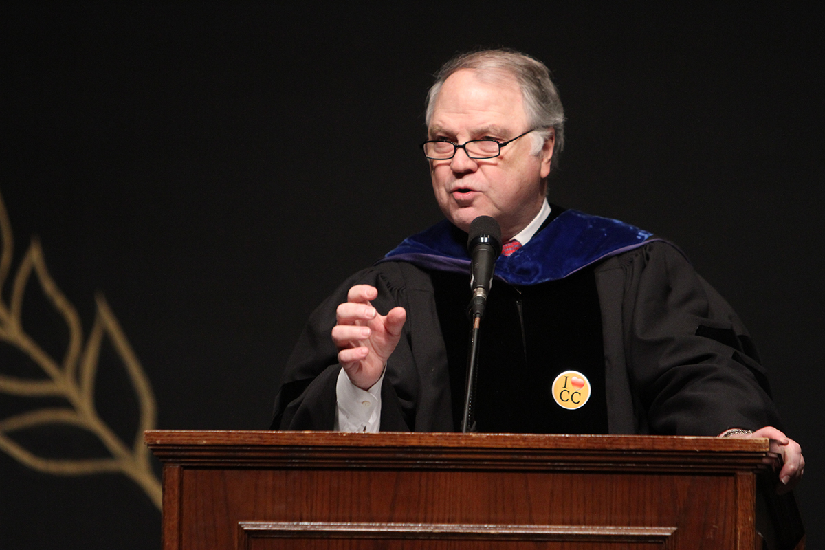 University of Richmond Chancellor Richard Morrill spoke at Founder's Day on January 19, 2011 in Newlin Hall at the Norton Center for the Arts.