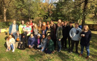The Centre College Garden Club and friends gather in the community garden for Fall Fusion Fest.