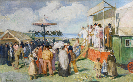 Parade de cirque, 1941. Huile sur toile, 136 x 224 cm de Lucien Simon (1861-1945). Collection association « Les Abris du Marin ». © Isabelle Guégan