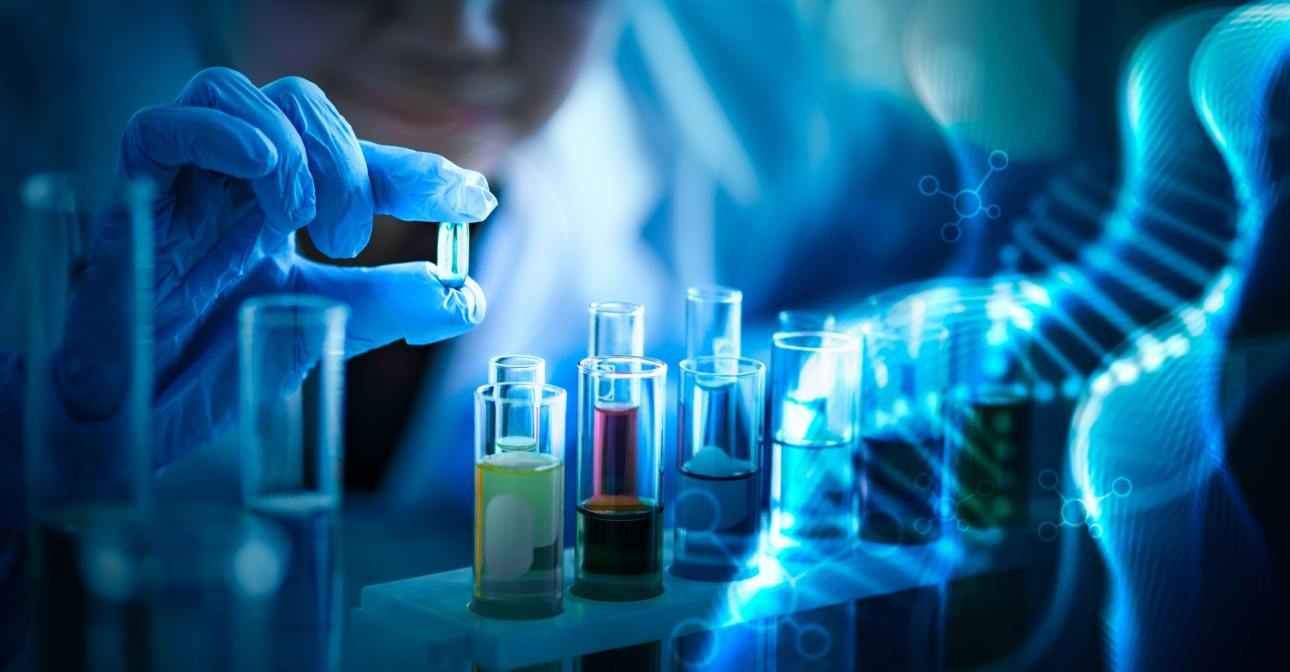Researcher holding blue pill for health care in laboratory with DNA molecule background