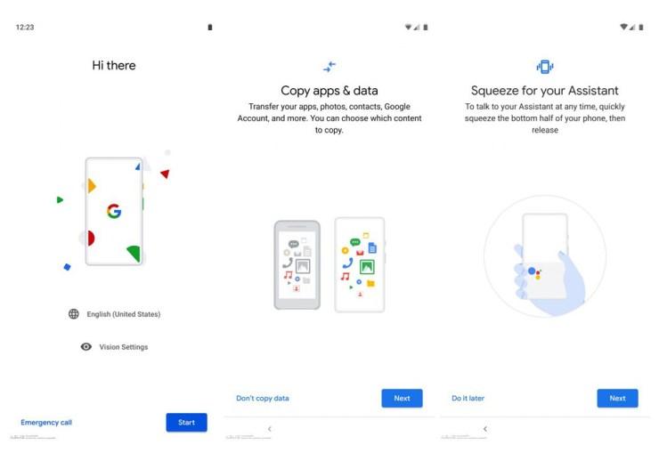 GOogle Pixel 3 Device setup android pie screenshots