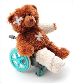 Bear in wheelchair