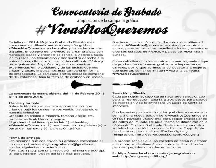 Convocatoria de grabado #Vivasnosqueremos