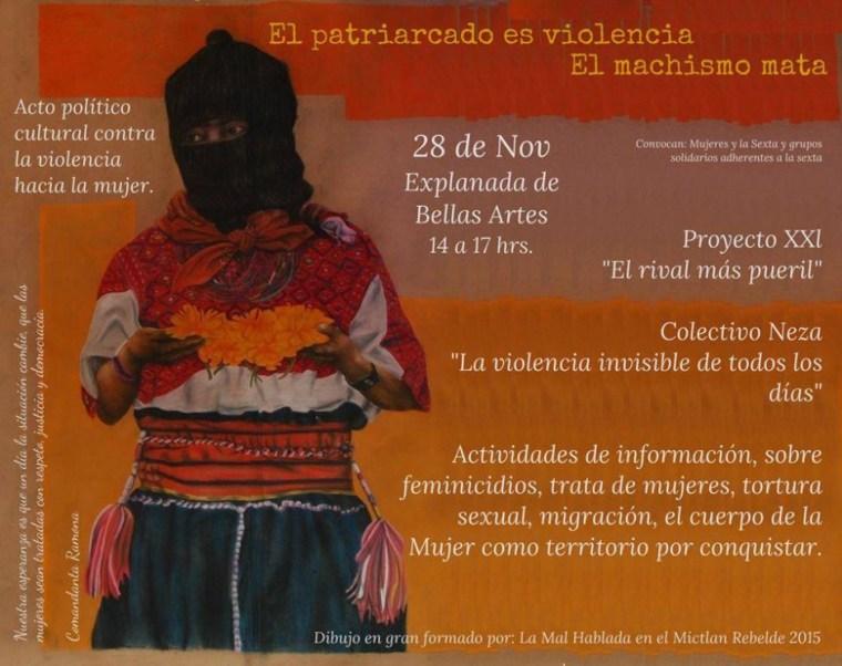 20151128Acto politico cultural contra la violencia hacia la mujer