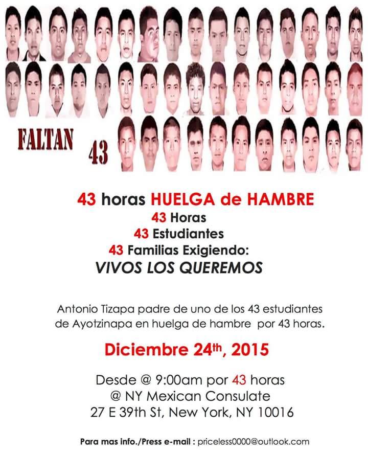 43 horas de huelga de hambre por los 43 de Ayotzinapa en Nueva York 2