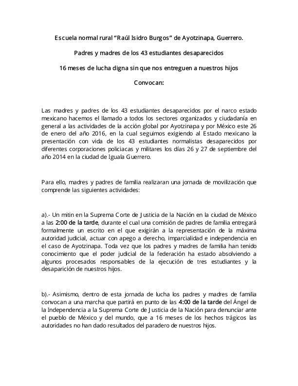 Llamado a la XX Accion Global por Ayotzinapa 1