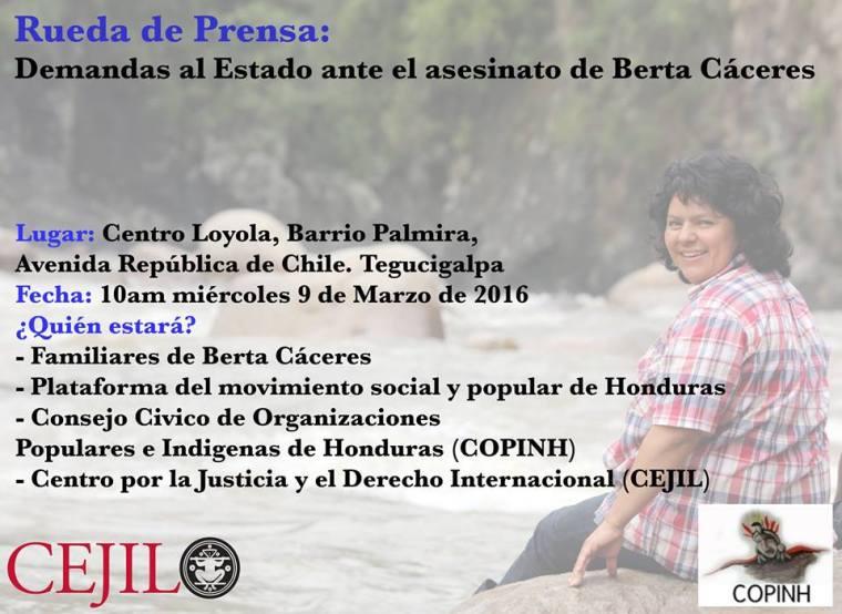 9 mar Conferencia de prensa Tegus por Berta Caceres