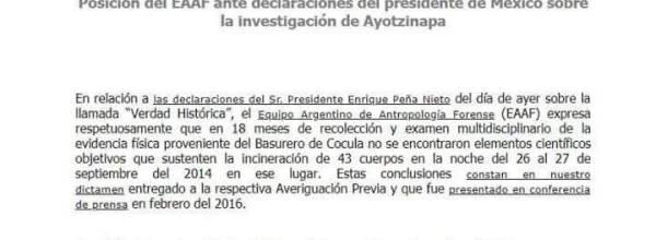 Equipo Argentino de Antropología Forense ante declaraciones de Peña Nieto sobre Ayotzinapa