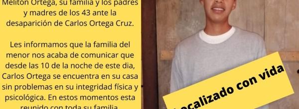Actualización: Aparece con vida Carlos Ortega Cruz #Ayotzinapa